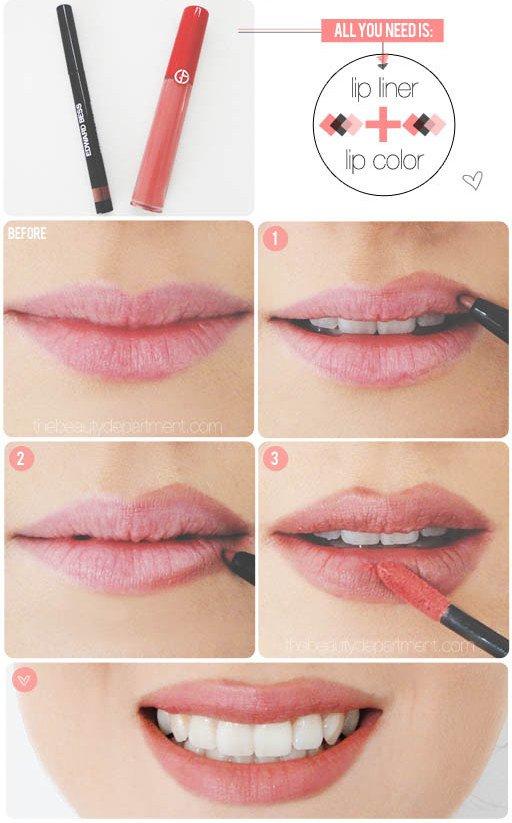 Как сделать карандашом большие губы